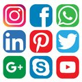 Set of Social media icons, Buttons collection in vector elemnts Royalty Free Stock Photo