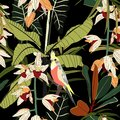 Seamless pattern with tropical red parrots. Colorful exotic yellow Bird, leaves, orchids flowers, plants. Royalty Free Stock Photo