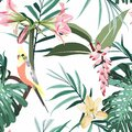 Seamless pattern with tropical parrots. Colorful exotic yellow Bird, leaves and pink flowers, plants. Royalty Free Stock Photo