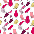 Basic rgb doodle birds set hand drawn vector illustration sketch style seamless pattern Stock Images