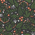 Moon herbs. Vector floral seamless pattern. Cute night design for fabric, wallpaper or wrap paper
