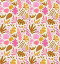 Tropical summer plants seamless pattern. Palm tree leaves and flowers in hand drawn style. Vector fabric design