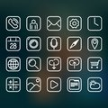 Basic set of white contour icons for smartphone