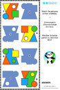 Basic shapes learning math visual puzzle educational themed match the pictures to their shadows answer included Royalty Free Stock Photos