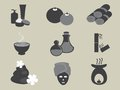 Basic spa icons vector set black for website Stock Images