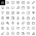 Basic UI line icons set, outline vector symbol collection Royalty Free Stock Photo