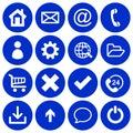 Set of 16 basic flat icons on dark blue background