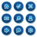 Basic web icons, blue circle buttons Stock Images