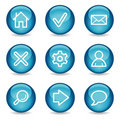 Basic web icons, blue glossy sphere series Royalty Free Stock Photos
