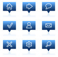 Basic web icons, blue speech bubbles series Stock Images