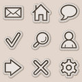 Basic web icons, brown contour sticker series Stock Photography