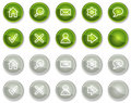 Basic web icons, green and grey circle buttons Royalty Free Stock Image