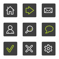 Basic web icons, grey square buttons series Royalty Free Stock Photos