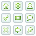 Basic web icons, white square buttons series Stock Images