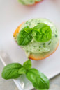 Basil ice cream Stock Foto