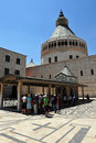 The basilica of the annunciation in nazareth israel june visitors at on june it s built over a cave that from th century was a Stock Image