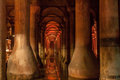 Basilica cistern istanbul turkey the complex of columns and water underground with a red light Stock Images