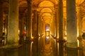 The basilica cistern yerebatan sarnici turkish sarayı – sunken palace or sarnıcı – sunken is largest of Royalty Free Stock Image