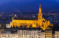 Basilica di santa croce basilica of the holy cross in florence night view italy Stock Image