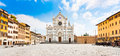 Basilica di santa croce in florence tuscany italy panoramic view of piazza with famous Royalty Free Stock Photos