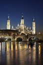 Basilica  EL Pilar  and roman bridge over Ebro river(Zaragoza,Spain) Stock Image