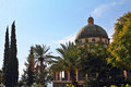 Basilica on mount of beatitudes israel lake tiberias the majestic dome is surrounded by magnificent park Royalty Free Stock Photo