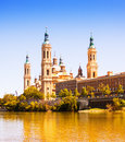 Basilica of our lady of the pillar from ebro river Royalty Free Stock Photography