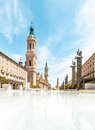 Basilica of Our Lady of Pillar in Spain, Europe. Stock Photos