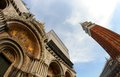Basilica in piazza san marco and the bell tower in venice high with fisheye lens Royalty Free Stock Photo