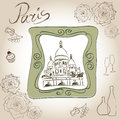 The basilica of the sacred heart of paris france picture of basilique du sacré cœur scrapbooking hand drawing kit symbol drawn Royalty Free Stock Images