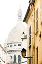 Basilica of the sacred heart on white isolated background and montmartre street paris france Stock Image