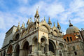 Basilica san marco the artistic facade of the famous di st mark s cathedral at piazza st mark s square in venice italy Royalty Free Stock Photos