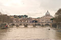 Basilica San Peter. Saint Angel Bridge and Tiber River Royalty Free Stock Photo