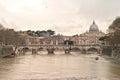 Basilica San Peter. Saint Angel Bridge and Tiber River Royalty Free Stock Photo