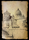 Basilica san pietro in rome italy painted on vintage old paper on black Stock Image