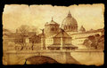Basilica san pietro in rome italy painted on vintage old paper on black Stock Photography
