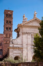 Basilica santa francesca romana and belfry at roman forum italy Royalty Free Stock Images