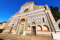 Basilica of santa maria novella firenze italy facade the famous in white marble and green serpentine in florence unesco world Stock Photos