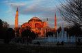 Basilica of santa sofia in the sunset istanbul Stock Images