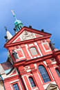 Basilica of st george prague close up red facade the castle grounds september at an angle with copy space Stock Photo