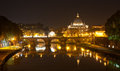 Basilica St Peter and river Tiber in Royalty Free Stock Image