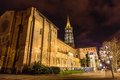 Basilica of St. Sernin by night in Toulouse Royalty Free Stock Photo