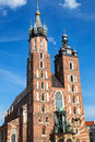 The basilica of the Virgin Mary in Cracow Stock Photo