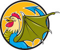 Basilisk bat wing circle cartoon illustration of a an animal with the head torso and legs of a rooster the tongue of a snake the Royalty Free Stock Photo