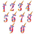 Numbers With Cute Unicorns Character Vector Set for Kids Birthday Party invitation, greeting card and cake toppers design.