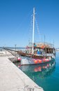 Baska voda makarska riviera dalmatia croatia excursion boat in harbor of at the in croatian adriatic sea Stock Photo