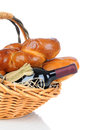 Basket of Assorted Breads and Wine Bottle Royalty Free Stock Photos