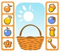 Basket and autumn set Royalty Free Stock Photos