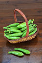 Basket of baby green zucchini Royalty Free Stock Image