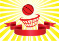 Basket ball and banner yellow rays Royalty Free Stock Photography